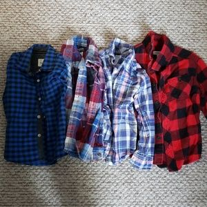 Lot of 4 button down plaid shirts